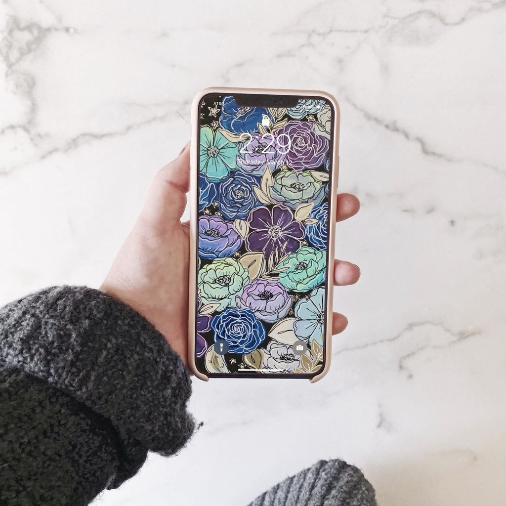 Galaxy Outlined Florals Phone Wallpaper (Digital Download)