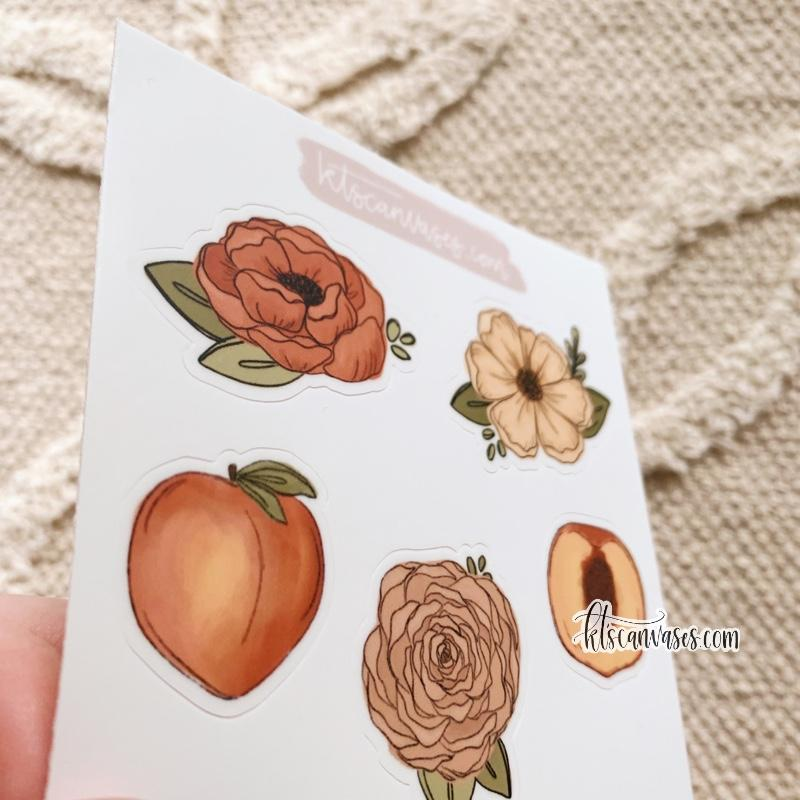 Peach Florals Set of 5 Mini Stickers (1 sheet)