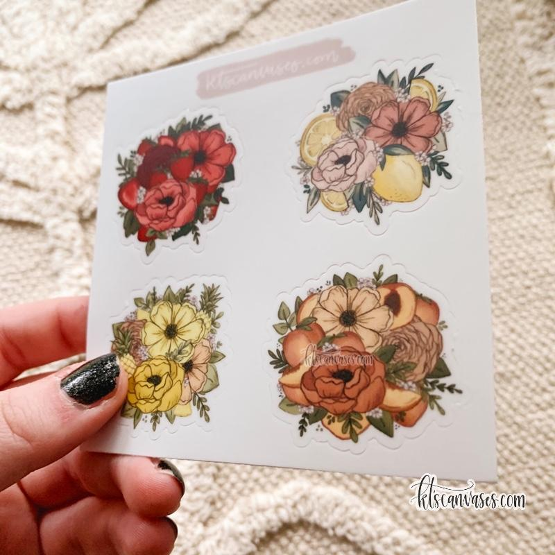 Floral Fruit Set of 4 Mini Stickers (1 sheet)