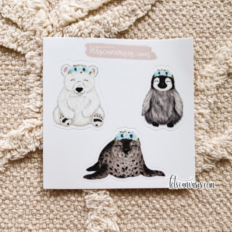 Arctic Baby Animals Set of 3 Mini Stickers (1 sheet)