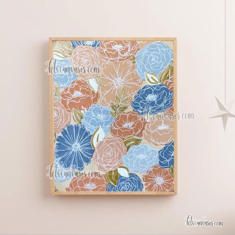 Peachy Blue Florals Art Print