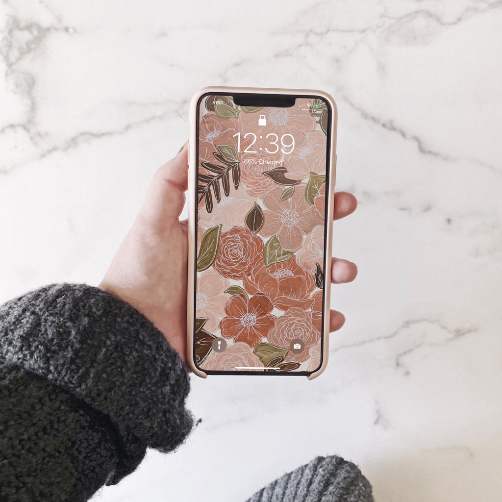 Painted Florals Phone Wallpaper (Digital Download)