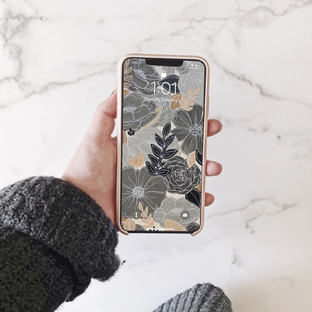 Gray Neutrals Painted Florals Phone Wallpaper (Digital Download)