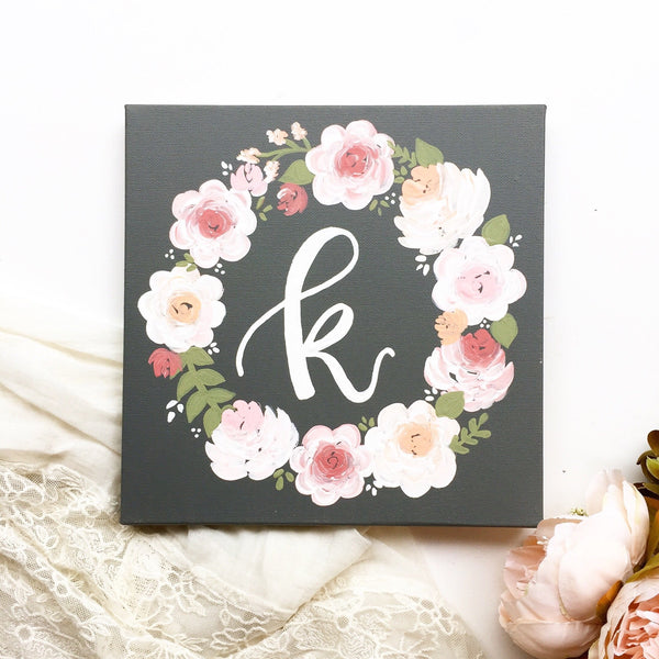 Canvas - Floral Wreath Monogram Canvas