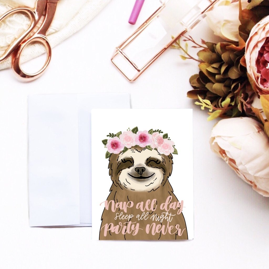 Card - Sloth Birthday Card