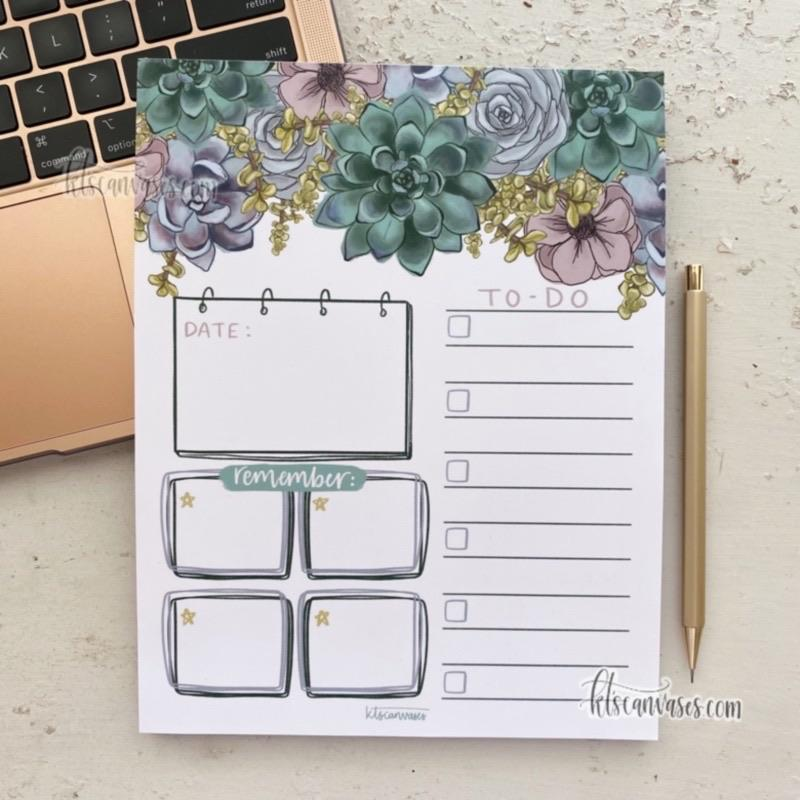 Succulent Floral Organized Notepad 50 sheets (7 x 9 in.)