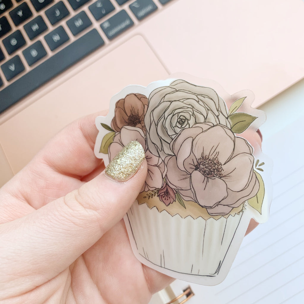Floral Cupcake Clear Sticker