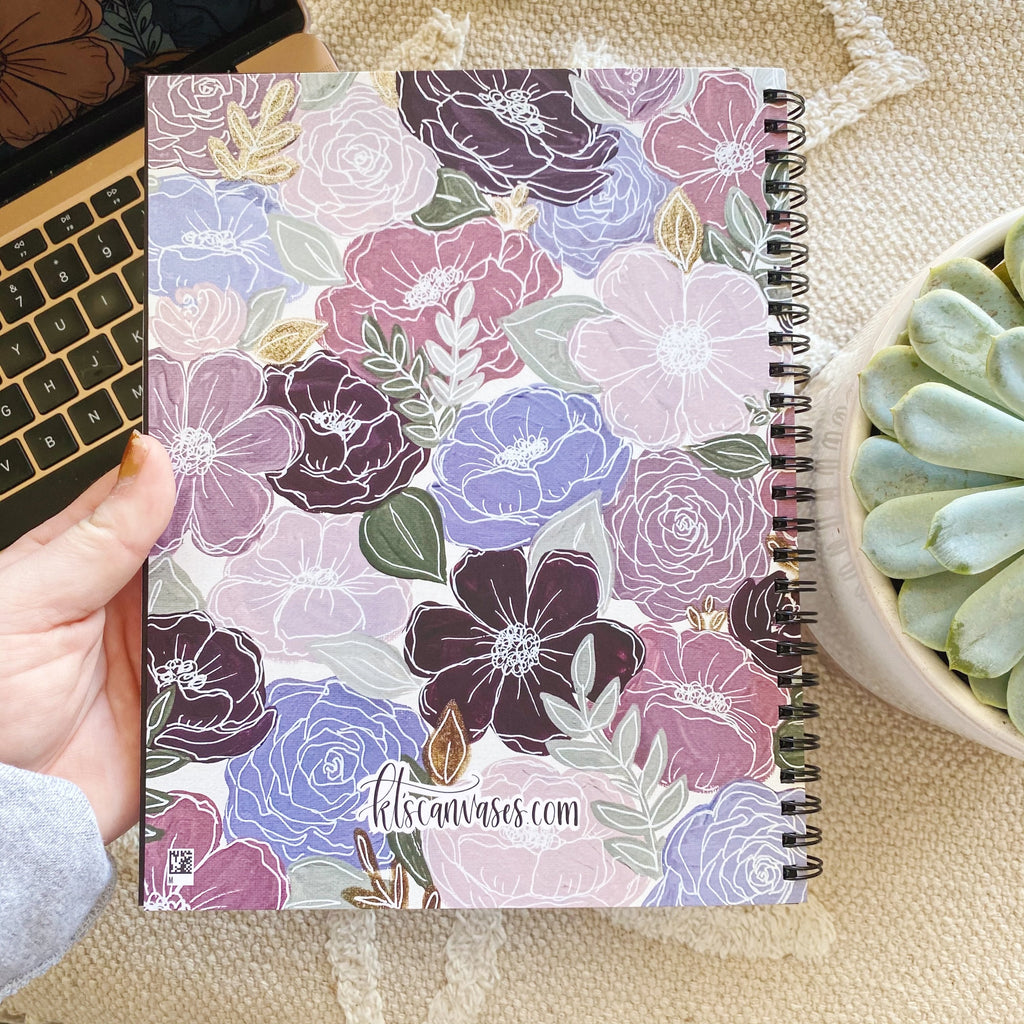Purple Florals 7 x 9 in. Spiral DOT GRID Notebook