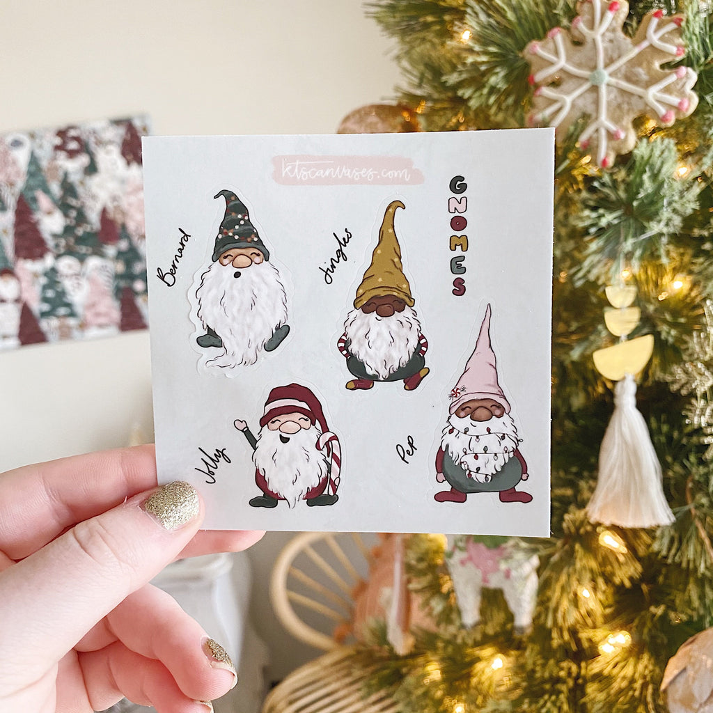 Little Gnomes Set of 4 Mini Stickers (1 sheet)
