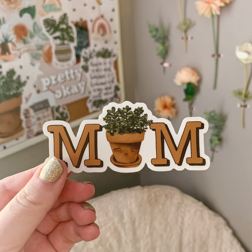 Plant Mom Clear Sticker (Jade Plant)