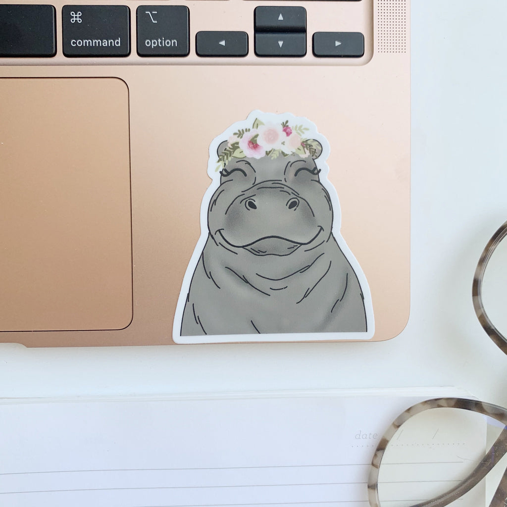 Floral Crown Hippo Sticker