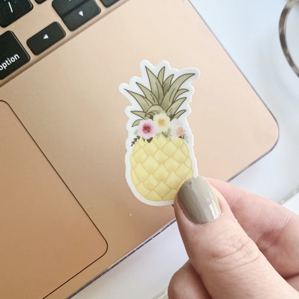 Mini Floral Crown Pineapple Sticker