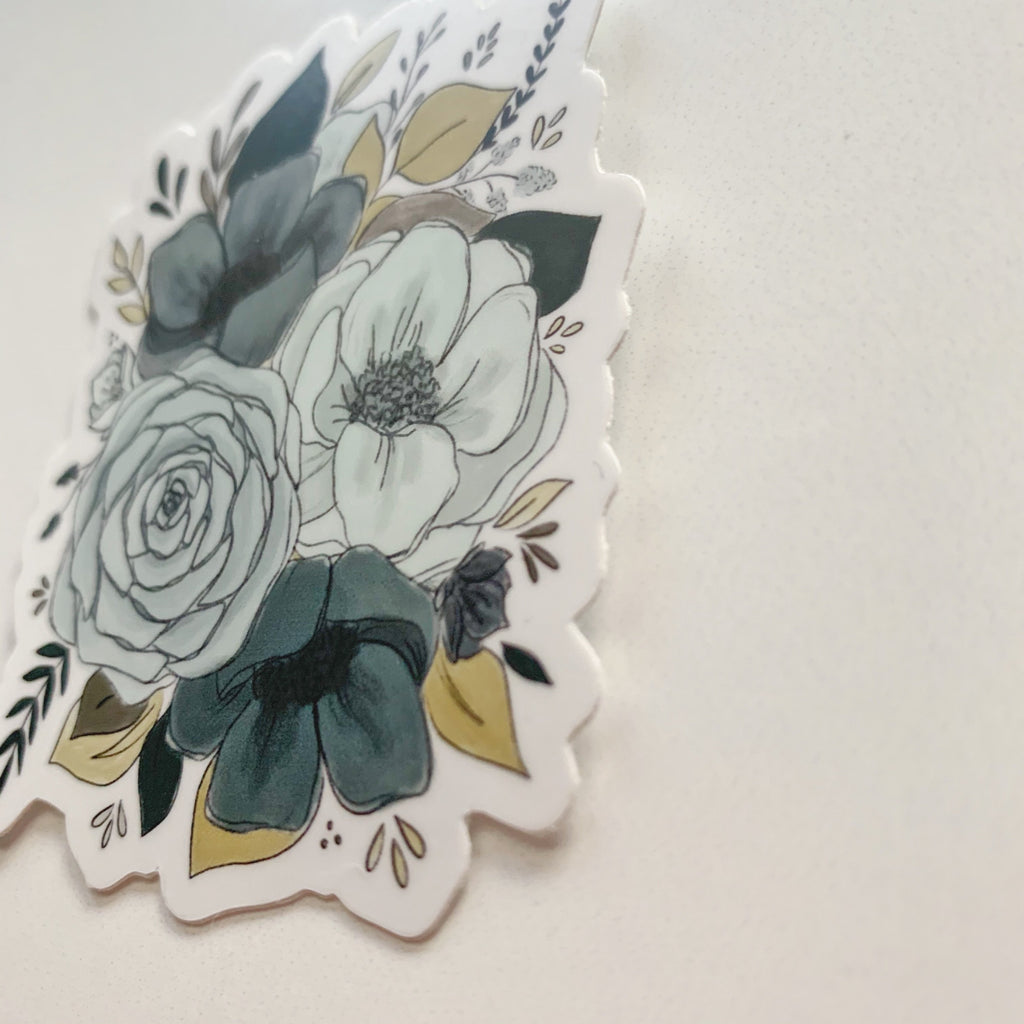 Blue Florals Sticker