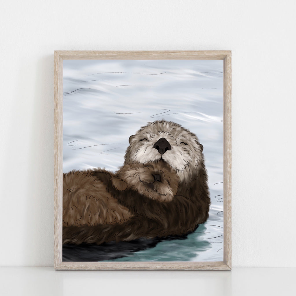 Sea Otter Family Art Print