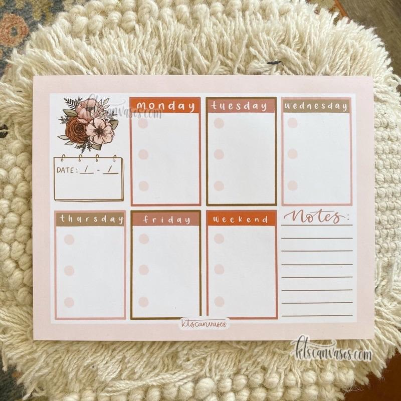 Weekly Floral Notepad 50 sheets (8.5 x 11 in.)