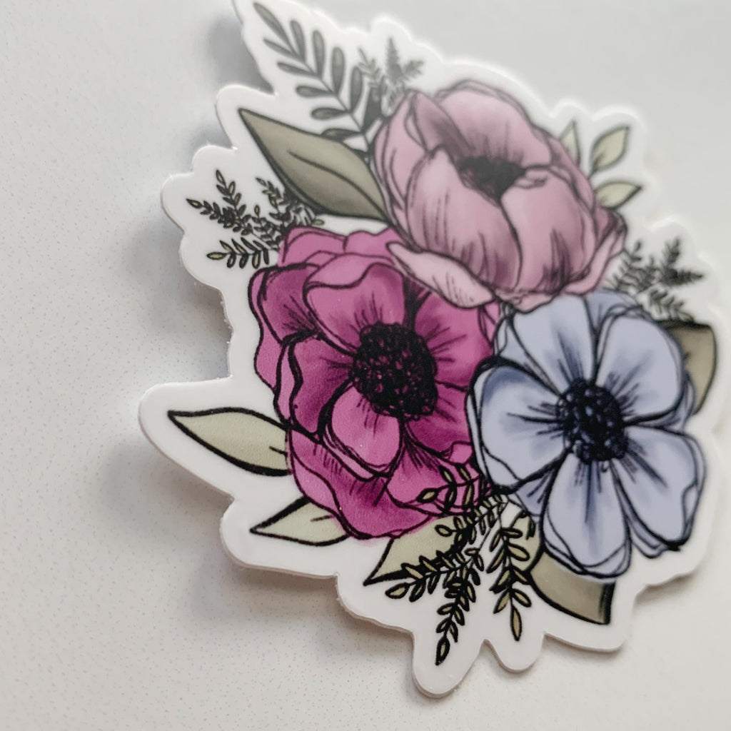 Pink + Blue Florals Clear Sticker