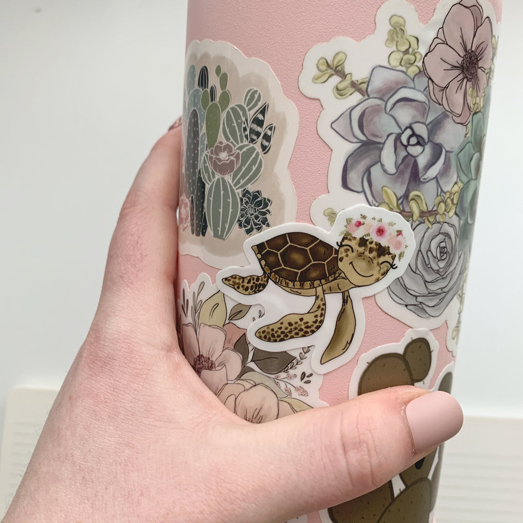 Mini Floral Crown Turtle Sticker