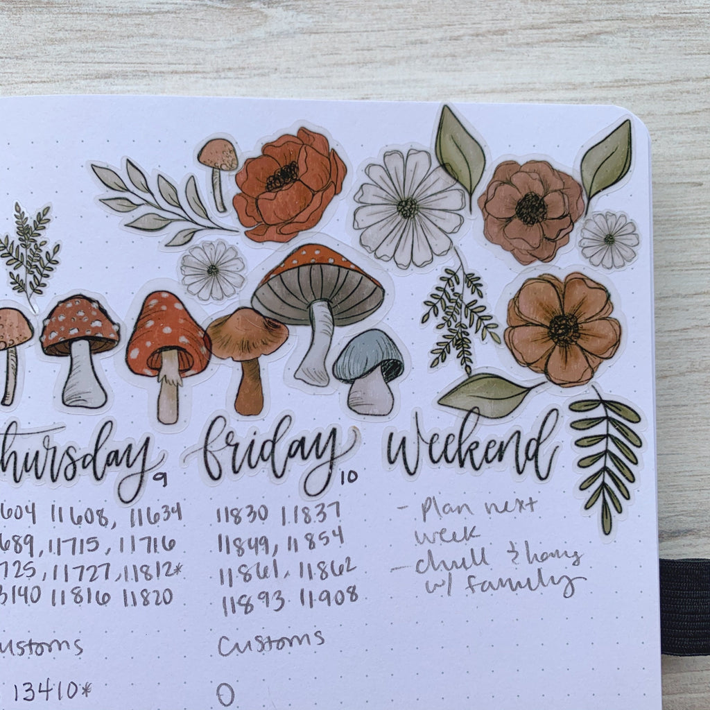 Weekly Spread Mushroom Floral Clear Journal Stickers (1 sheet included) NOT WATERPROOF