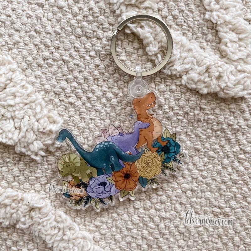 Dinosaur Friends Floral Keychain 2.5 in.