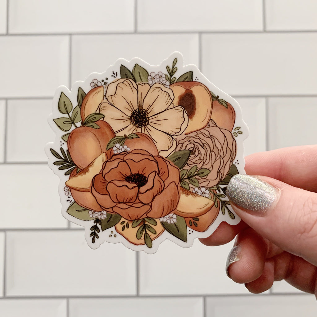 Peach Florals Sticker