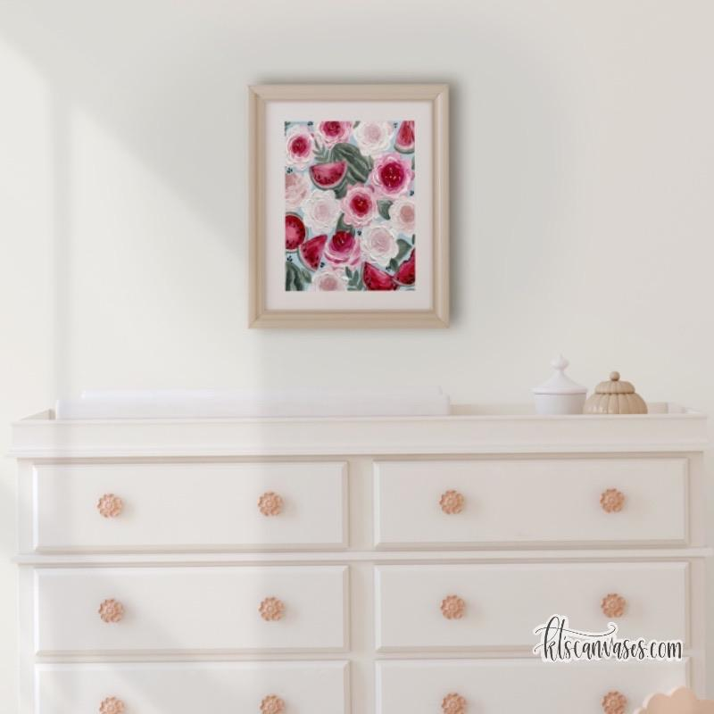 Watermelon Florals Art Print