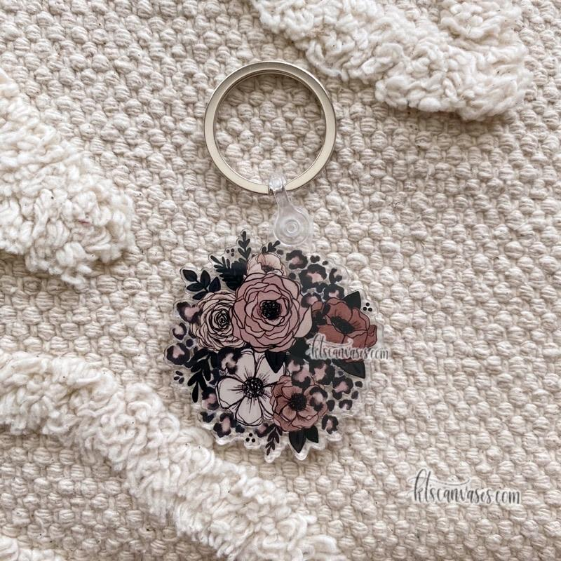 Cheetah Florals Keychain 2 in.
