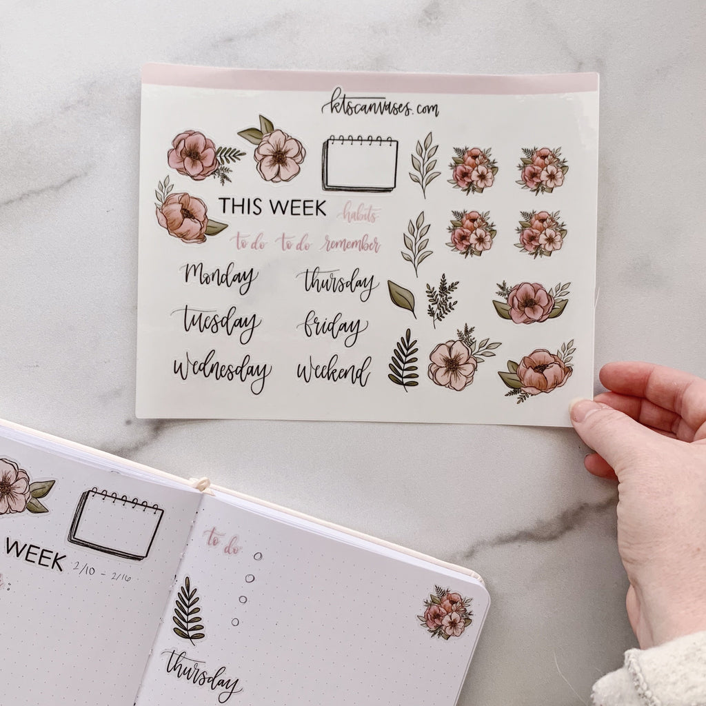 Weekly Spread Floral Clear Journal Stickers (1 sheet included) NOT WATERPROOF