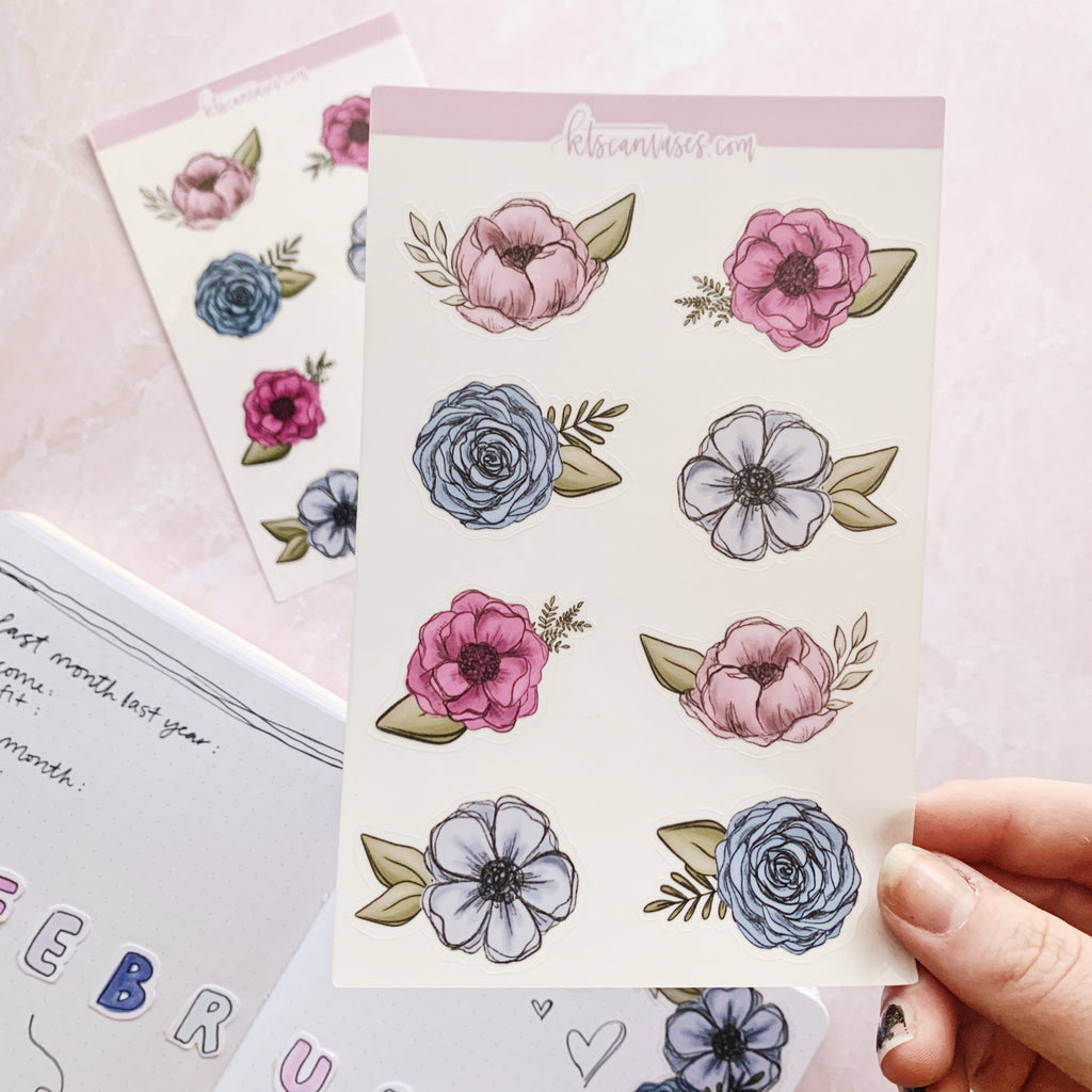 Pink/Blue Floral Clear Journal Stickers (2 sheets included) NOT WATERPROOF