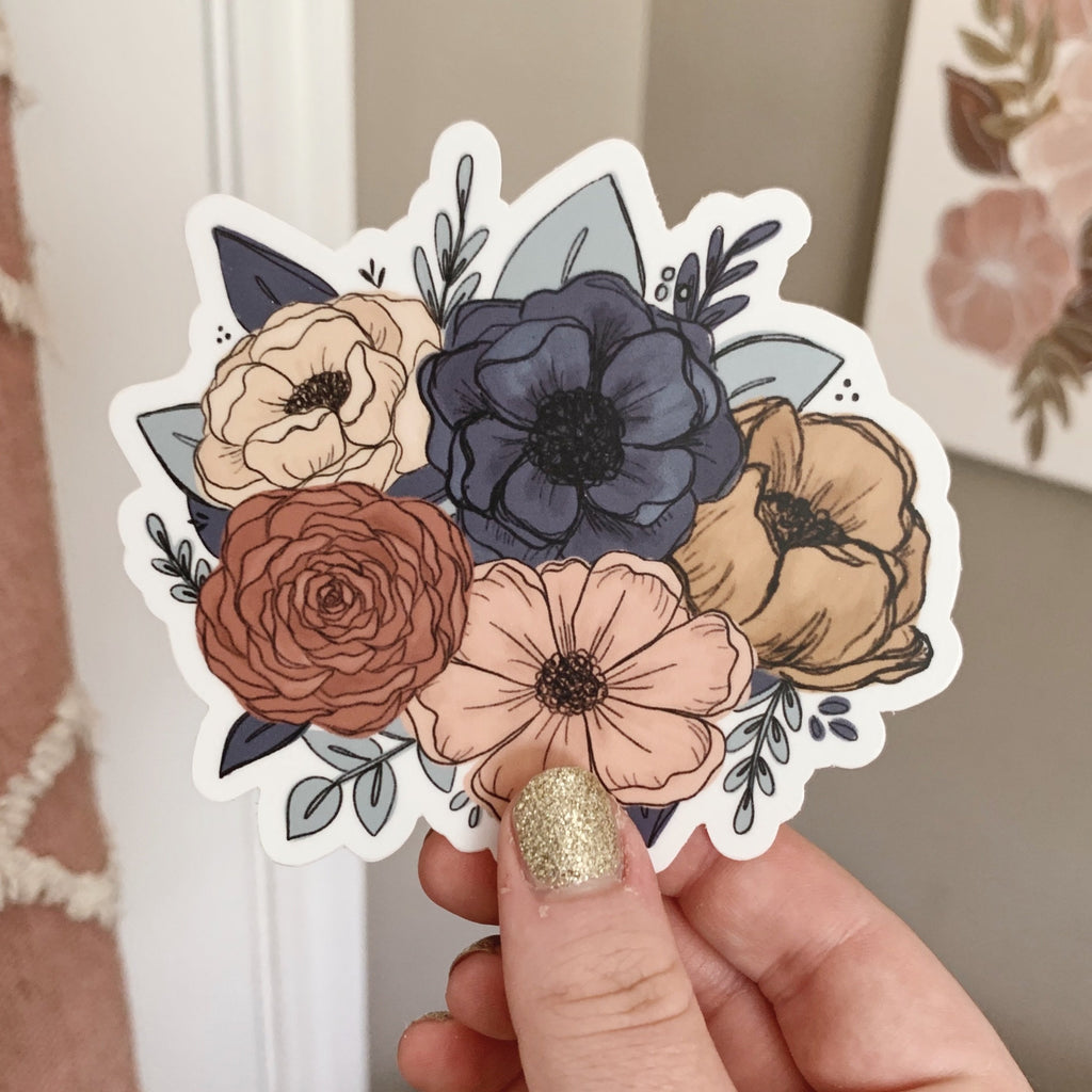 Peachy Teal Florals Sticker