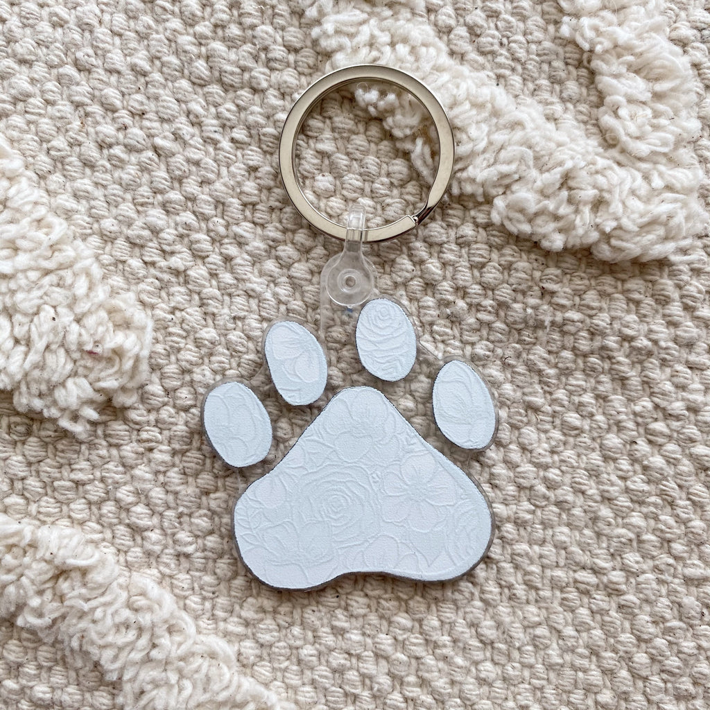 Floral Paw Keychain 2 in.