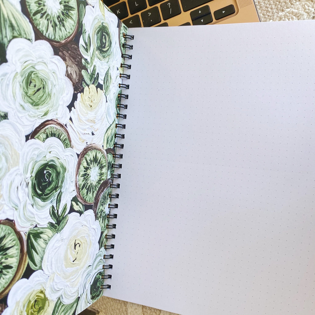 Harry's Fave Fruits Florals 7 x 9 in. Spiral DOT GRID Notebook