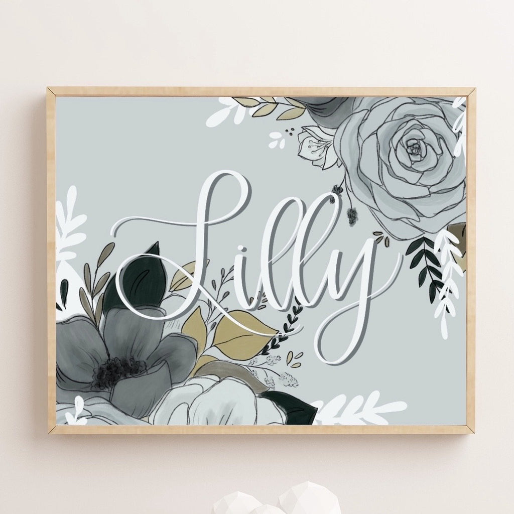 Floral Personalized Name Art Print