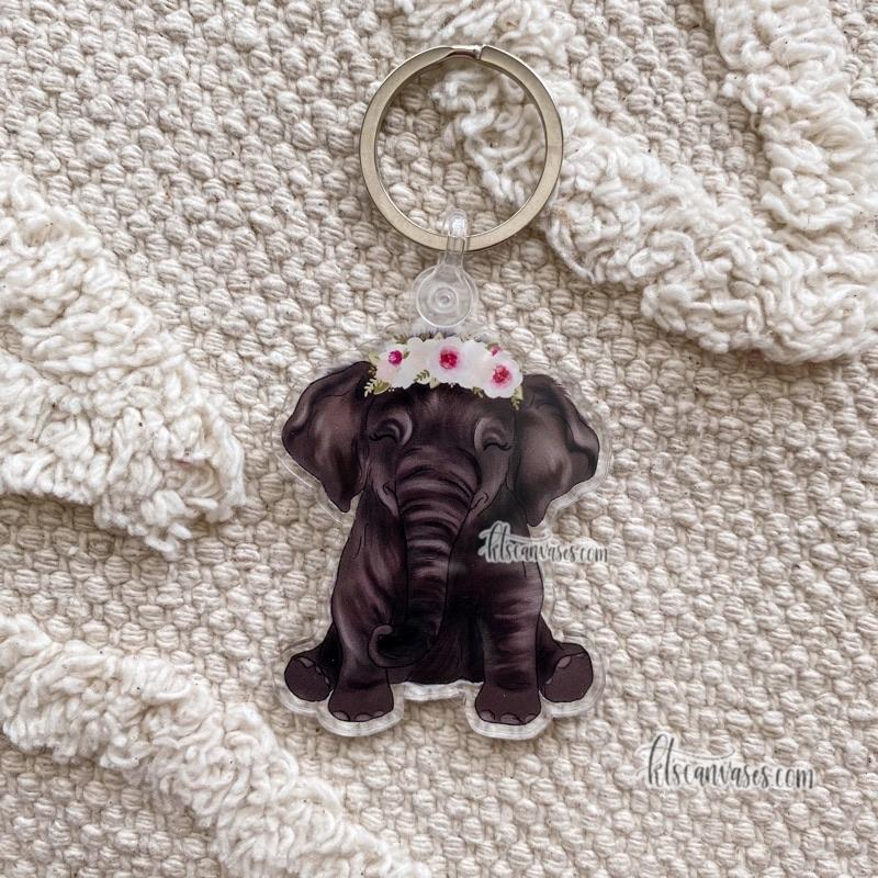 Baby Elephant Keychain 2.5 in.