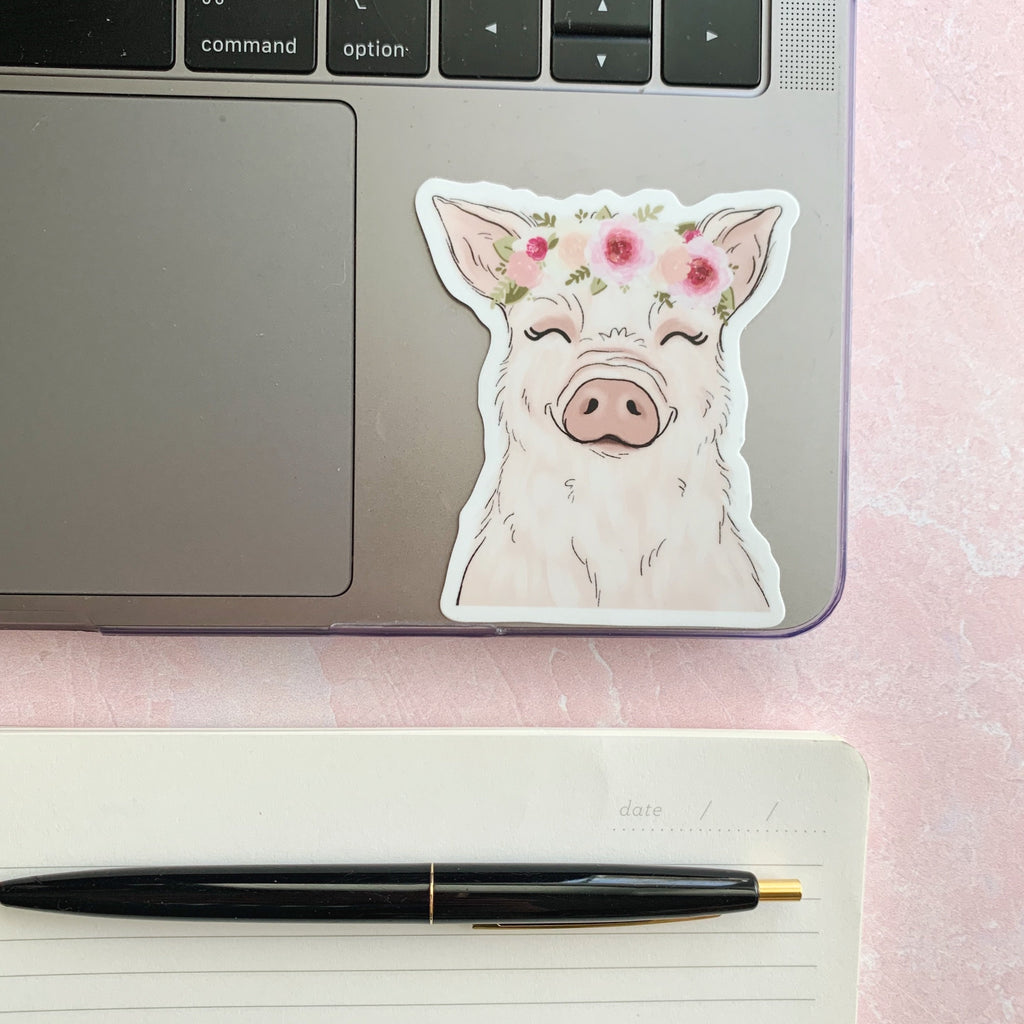 Floral Crown Pig Sticker