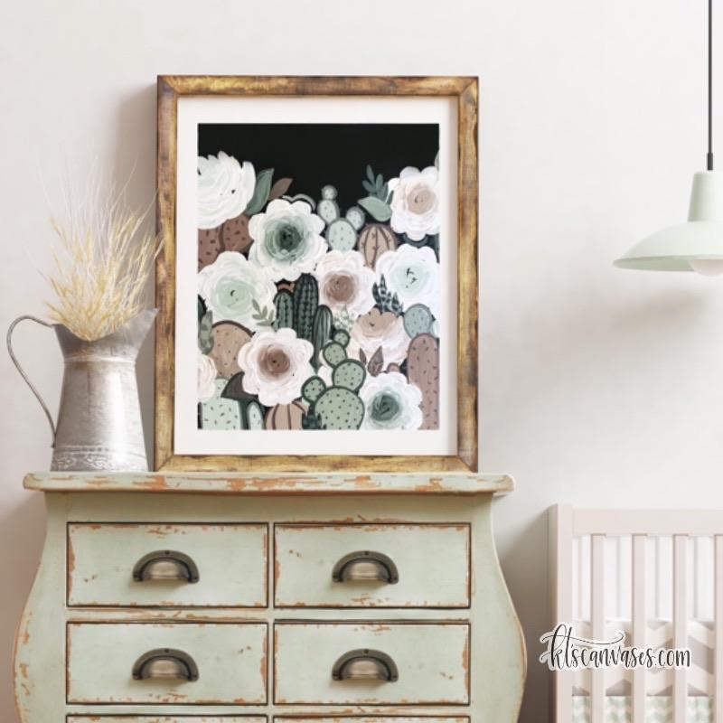 Muted Cactus Florals Art Print
