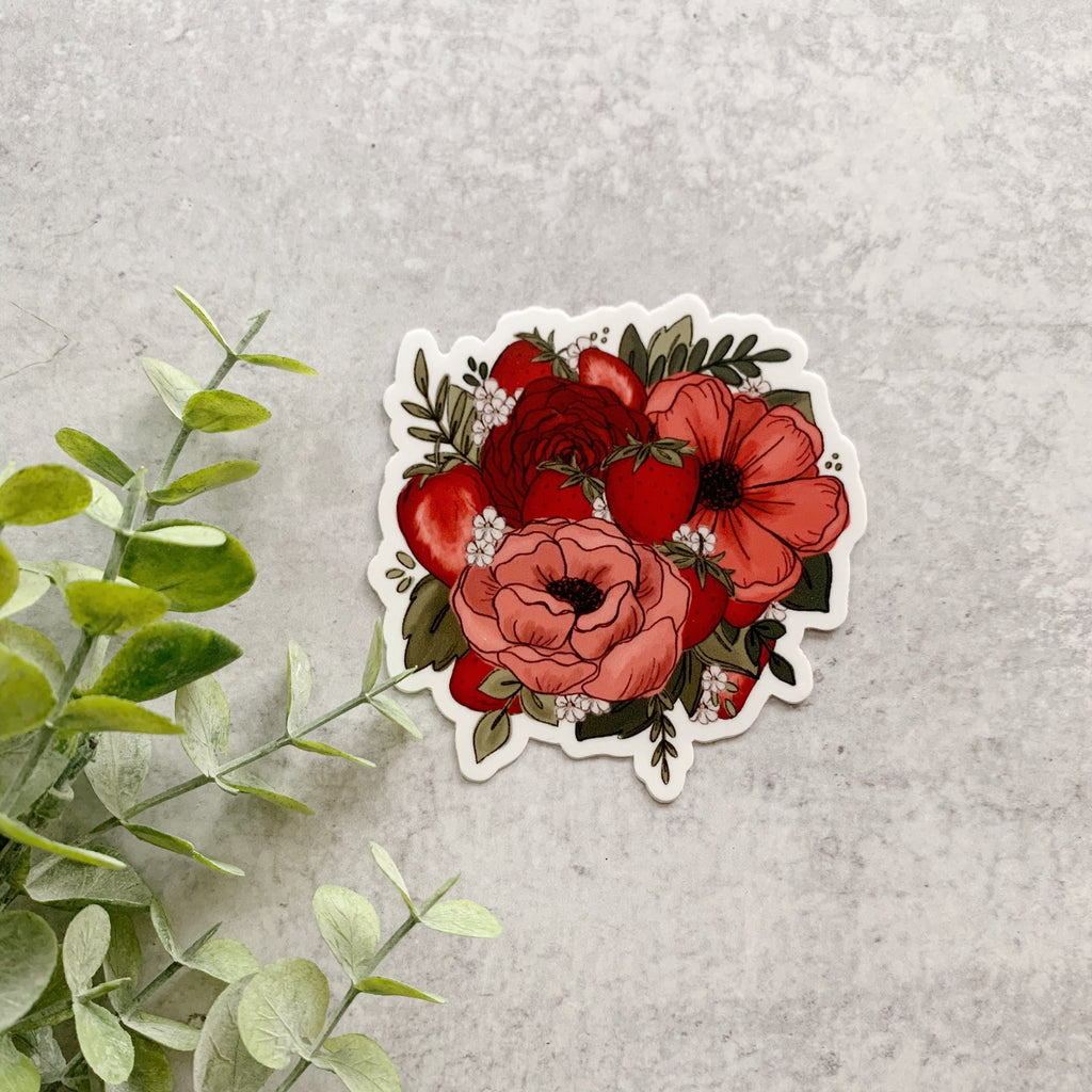 Strawberry Florals Sticker