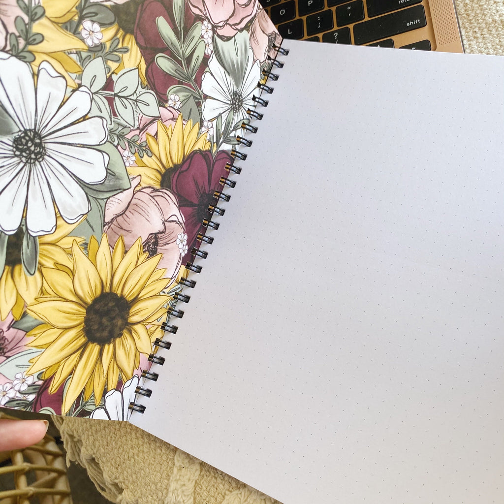 Tired Florals 7 x 9 in. Spiral DOT GRID Notebook
