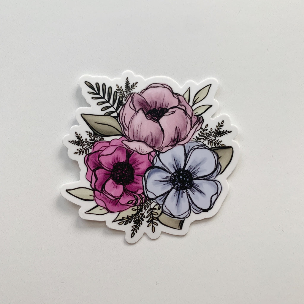 Pink + Blue Florals Sticker