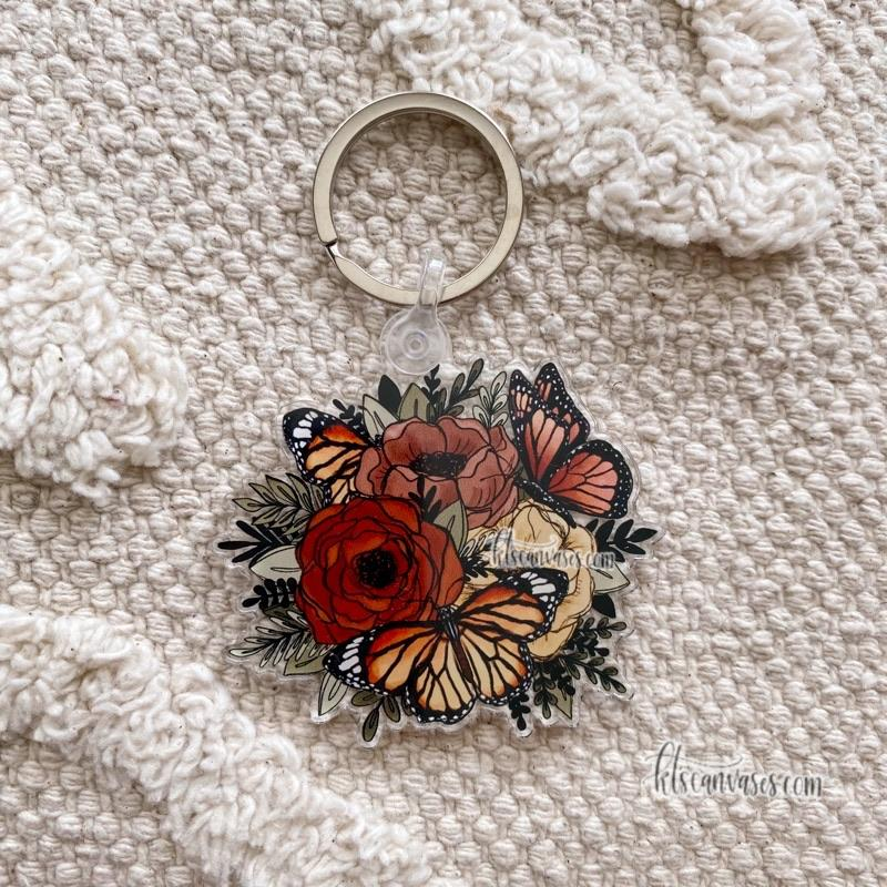 Butterfly Florals Keychain 2.5 in.