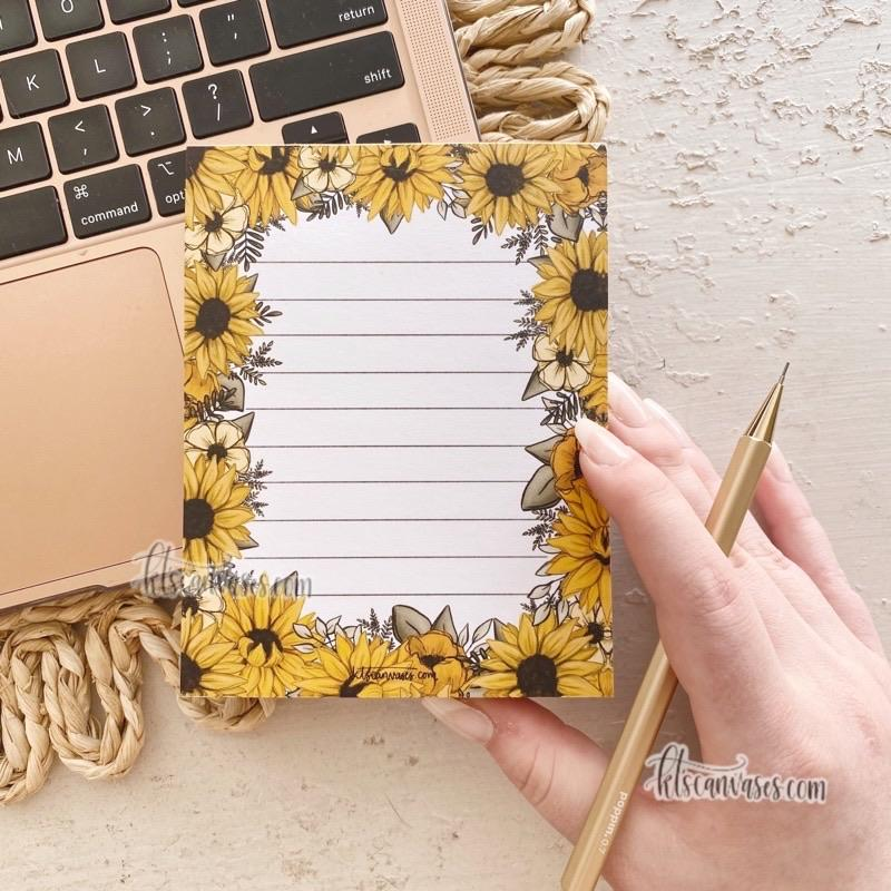 Sunflower Florals Notepad 100 sheets (4.25 x 5.5 in.)