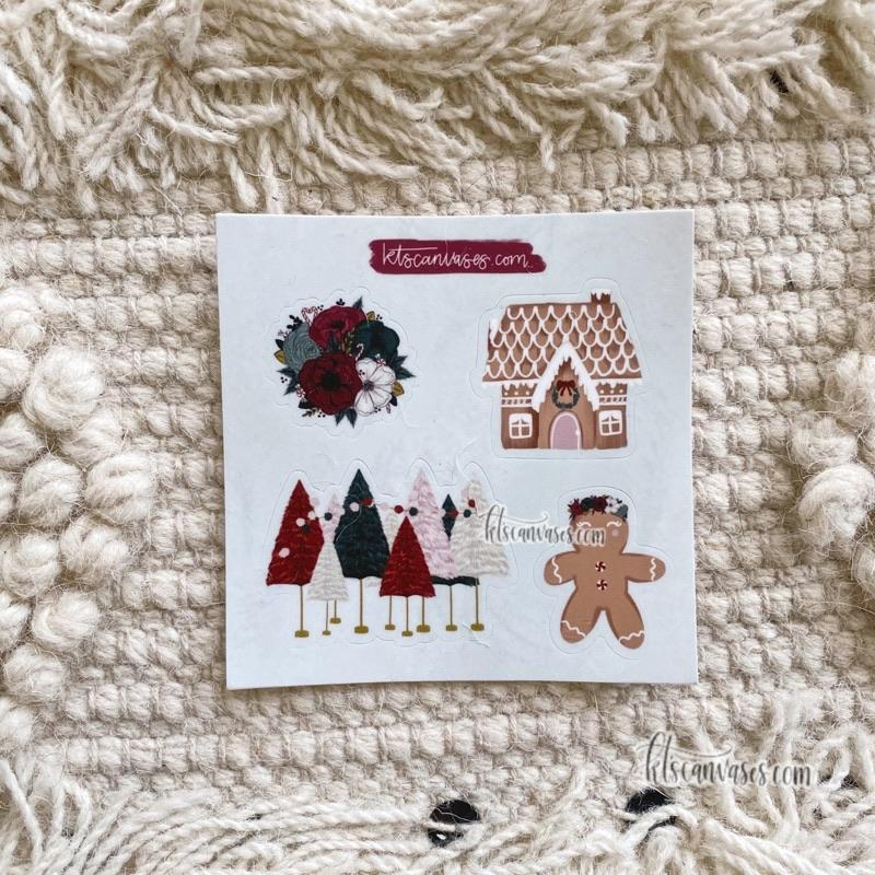 Gingerbread Christmas Set of 4 Mini Stickers (1 sheet)