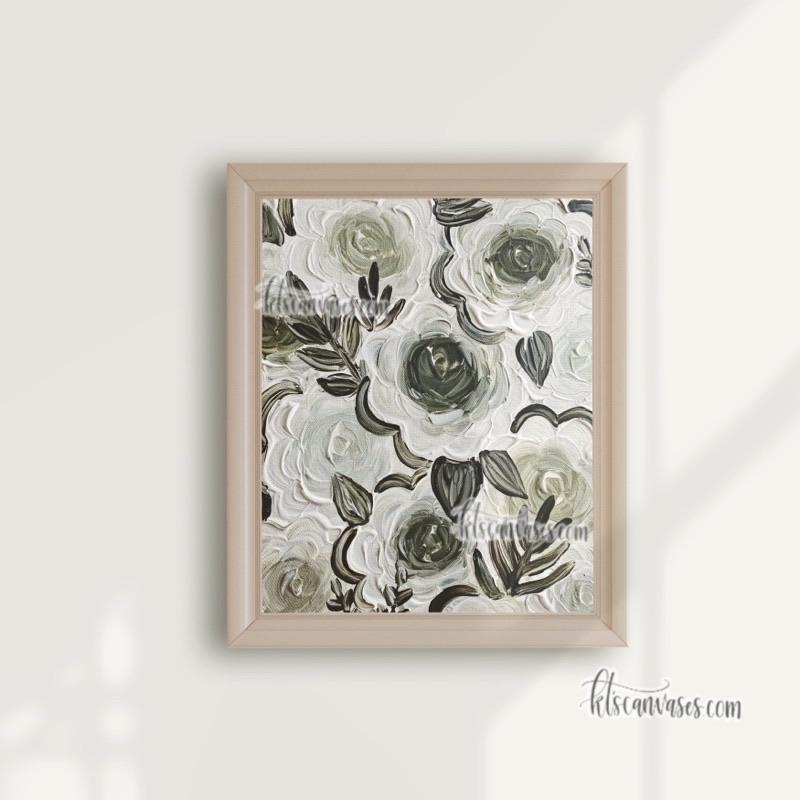Enchanted Green Florals Art Print
