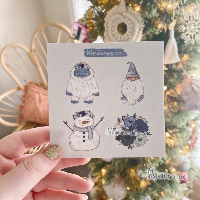 Frosty Florals Set of 4 Mini Stickers (1 sheet)