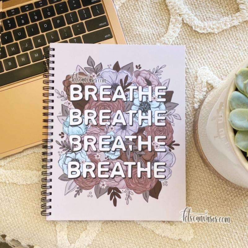 Breathe Florals 7 x 9 in. Spiral DOT GRID Notebook