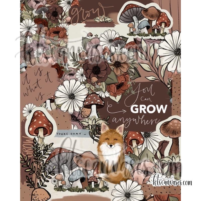 Forest Floral Collage Art Print