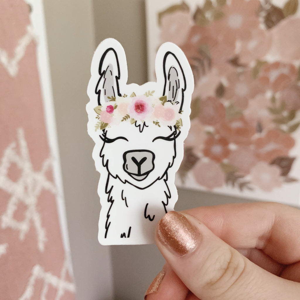 Floral Crown Llama Sticker