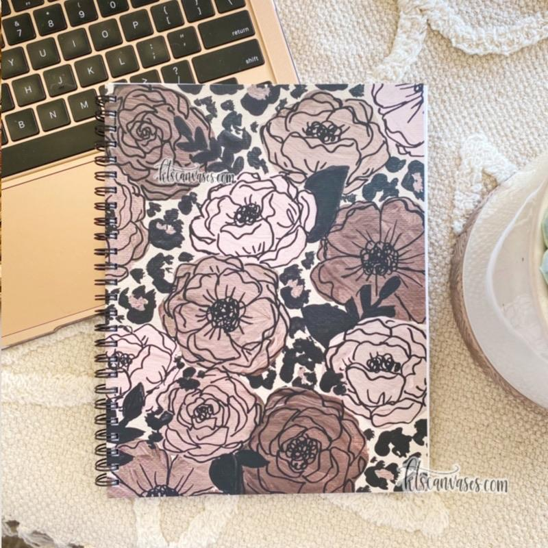 Cheetah Florals 7 x 9 in. Spiral LINED Notebook