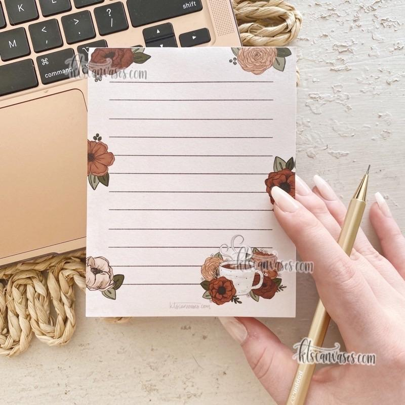 Coffee Florals Notepad 100 sheets (4.25 x 5.5 in.)