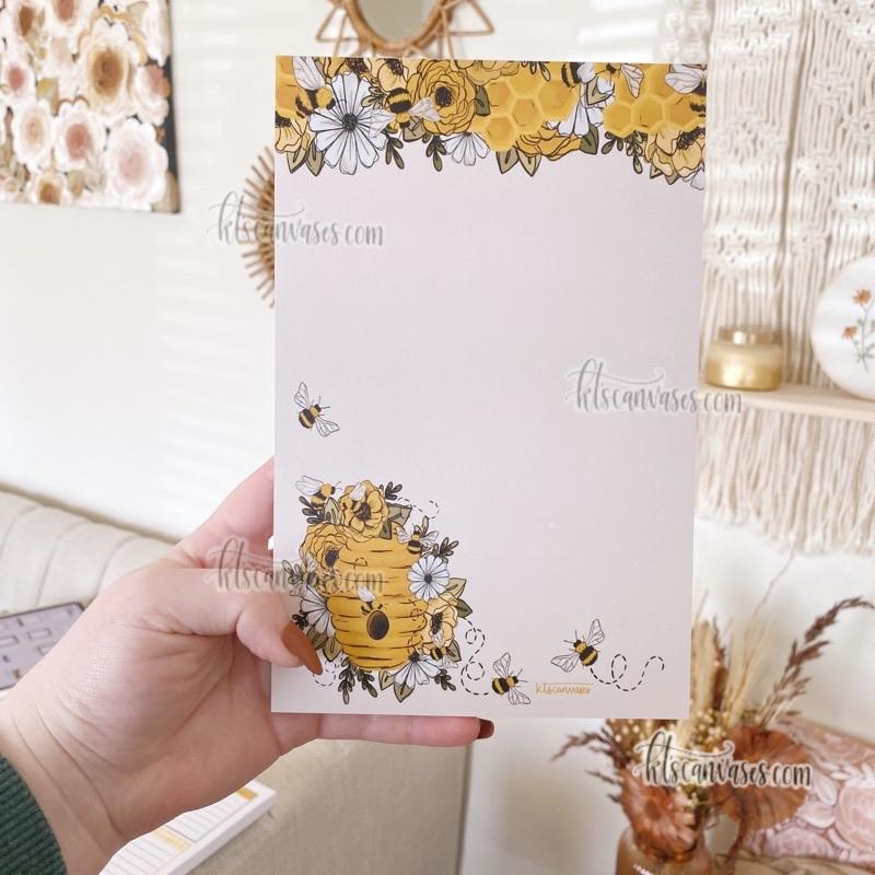 Honeybee Floral Notepad 50 pages (5.5 x 8.5 in.)