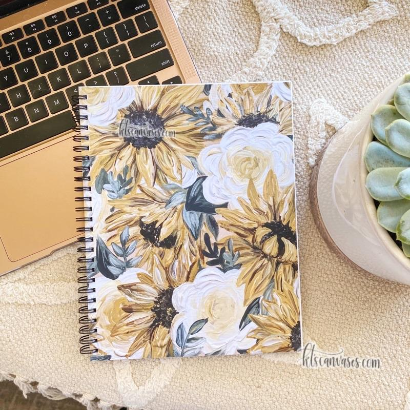 Sunflower Florals 7 x 9 in. Spiral LINED Notebook